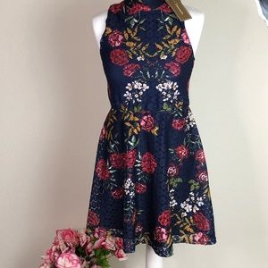 Francesca's Dress crochet flare w/ button closure